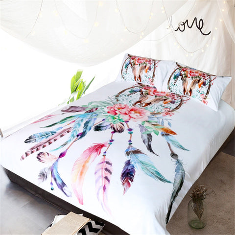 Feathers Skull Dream Catcher Bedding Set