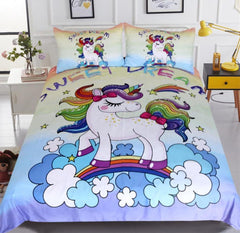 Queen Rainbow Unicorn Bedding Set