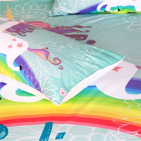 Rainbow Cute Unicorn Bedding Set