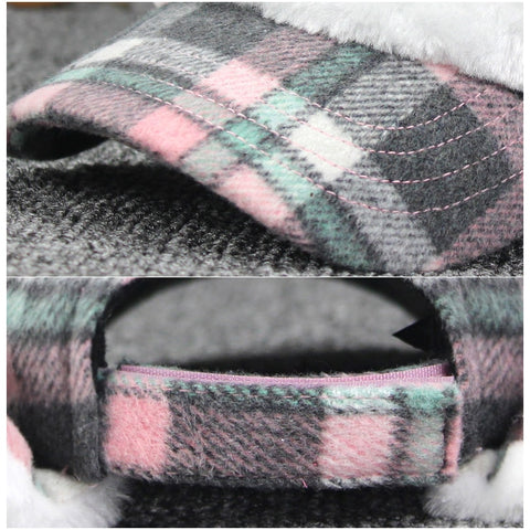 Women Cute Plaid Pompom Earflap Cap Bomber Hat