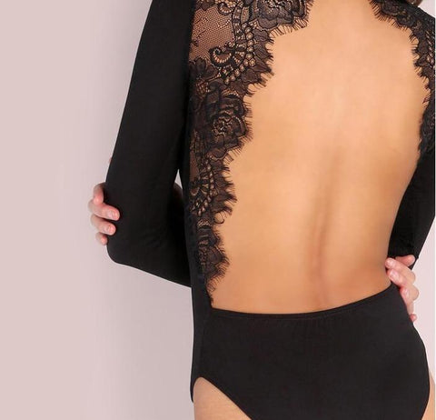 Backless Party Club Black Lace Bodysuit