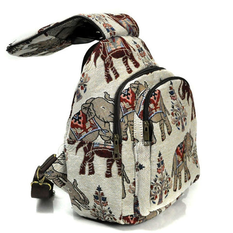 Elephant Travel Embroidery Canvas Backpack