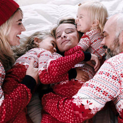 Snow Red PJS Matching Family Christmas Pajamas