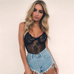 Sexy Black White Lace Bodysuit