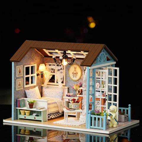 DIY Blue Furniture Doll House