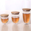 Image of Bamboo Lid Insulate Transparent Double Glass Set Teacup Coffee Mugs