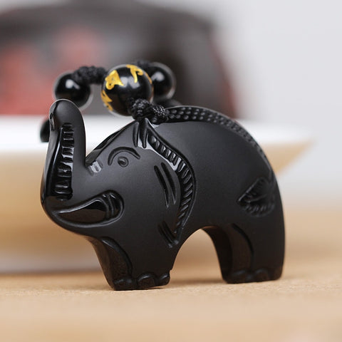 Lucky Wealth Elephant Black Obsidian Necklace
