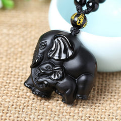 Wealth Lucky Elephant Black Obsidian Necklace