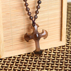 Lucky Cross Obsidian Necklace