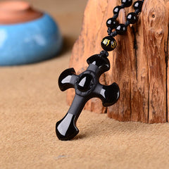 Cross Black Obsidian Necklace