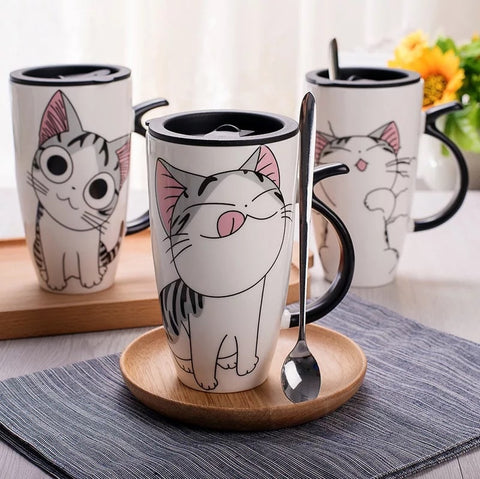 Cute Cat Lid Tea Cup Coffee Mug