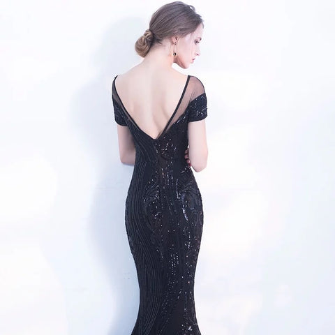 Long Black Sequin Evening Mermaid Dress