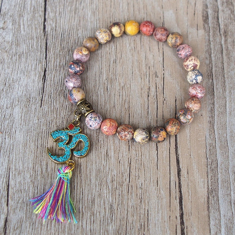 Natural Stone Tebetan Yoga Stretch Chakra Bracelet