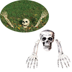 Horror Buried Skeleton Skull Garden Yard Lawn Halloween Party Decorations
