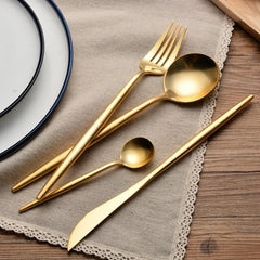 24Pcs 6sets Gold Top Stainless Steel Party Dinnerware Flatware Cutlery Set