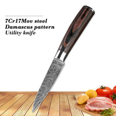 3.5Inch Utility Paring Peeling Damascus Style Japan Chef Kitchen Knife