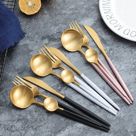 Luxury Stainless Steel Plating European Western Flatware Cutlery Set