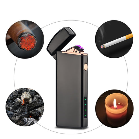 Windproof Battery Indicator Electric USB Lighter