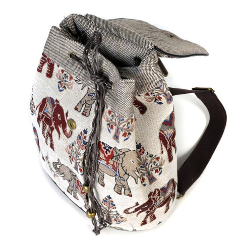 Elephant Embroidery Canvas Backpack