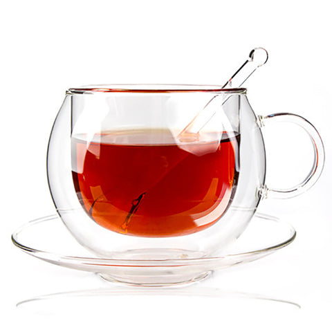 220ML Handle Double Glass Teacup Coffee Mugs