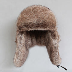Wool Blend Fur Russian Bomber Hat