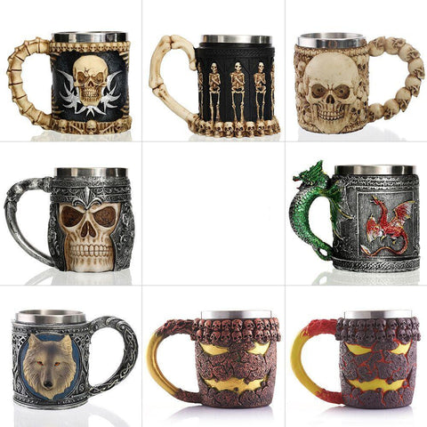 Skull Knight Tankard Dragon Viking Stainless Beer Tea Cup Coffee Mugs