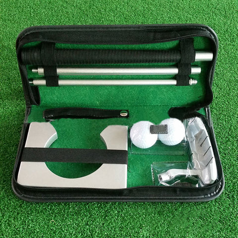 Portable Travel Indoor Putter Ball Kit Case Gift Golf Training Aids