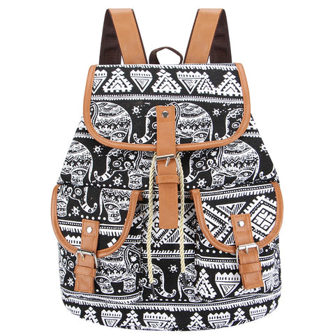 Vintage Elephant Printing Canvas Backpack