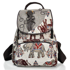 Embroidery Elephant Canvas Backpack