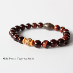 Tibetan Tiger Eye Yoga Stretch Chakra Bracelet