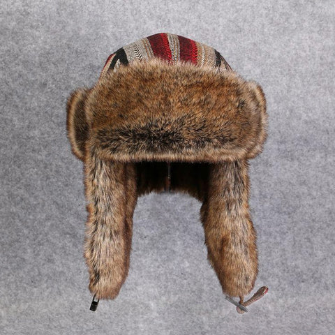 Earflap Wool Blend Fur Russian Bomber Hat