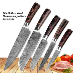 Stainless Steel Blade Damascus Laser Cooking Set Chef Kitchen Knife