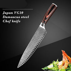 8Inch Japanese Damascus Pattern Santoku Chef Kitchen Knife
