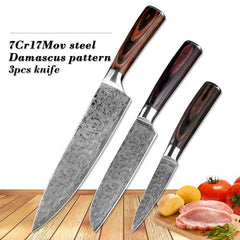 3Pcs Japanese Cleaver Paring Slicing Utility Damascus Pattern Set Chef Kitchen Knife