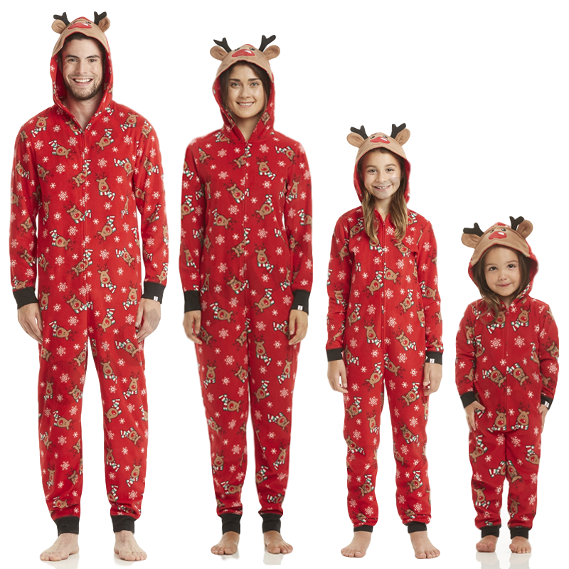 Matching Family Christmas Pajamas.Deer Hood Pjs Matching Family Christmas Pajamas