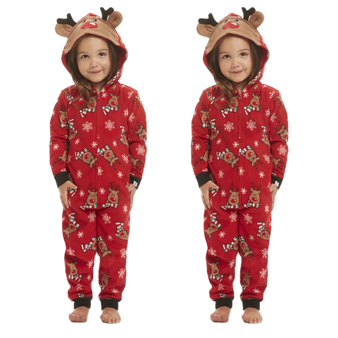 Deer Hood PJS Matching Family Christmas Pajamas