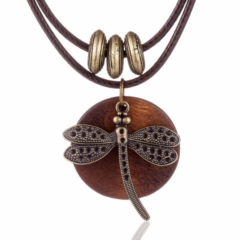 Vintage Wooden Jewelry Dragonfly Necklace