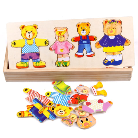 Little Bear Dressing Wooden Puzzle Board