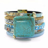 Image of Blue Leather Stone Magnet Bohemian Jewelry Boho Bracelets