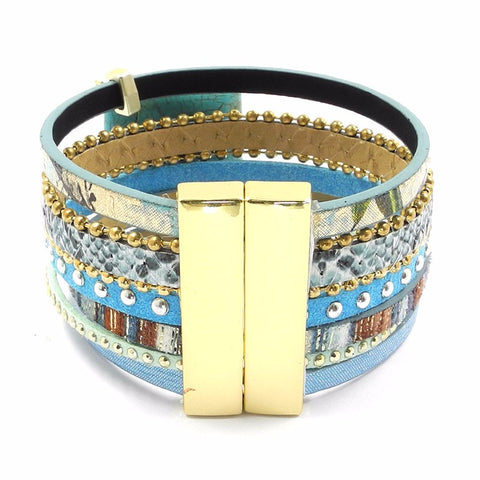 Blue Leather Stone Magnet Bohemian Jewelry Boho Bracelets
