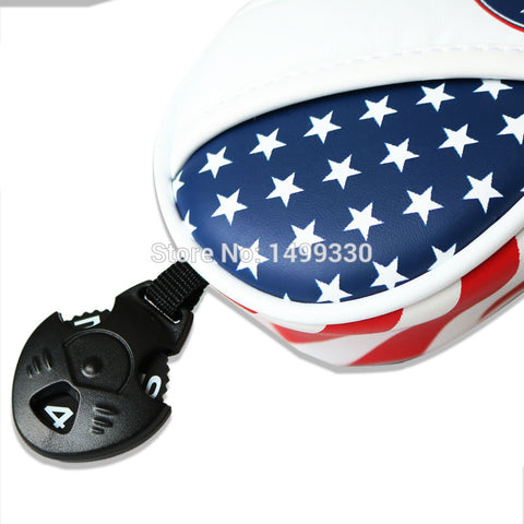 USA Flag PU Leather UT FW Driver Golf Head Covers