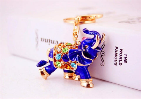 Colorful Crystal Elephant Keychain