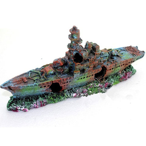 Navy Warship Sunken Wreck Ornaments Aquarium Fish Tank Decorations