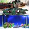 Image of Navy Warship Sunken Wreck Ornaments Aquarium Fish Tank Decorations