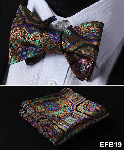 Floral Paisley Butterfly Silk Handkerchief Bow Tie