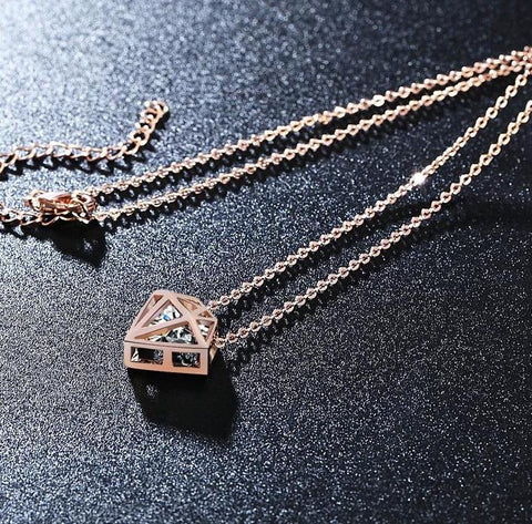 Diamond Rose Gold CZ Sister Jewelry Necklaces