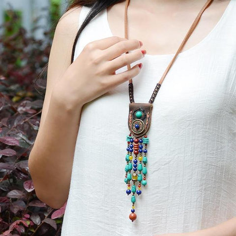 Long Leather Blue Bohemian Jewelry Boho Necklace
