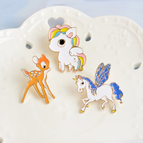 Set Unicorn Deer Little Pony Etsy Enamel Pins