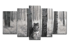 5Pcs Watchful Wolf Canvas Wall Art