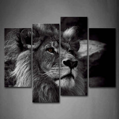 4Pcs Lion Head Black And White Canvas Wall Art